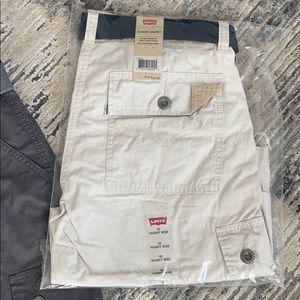 NWT Levi's shorts 2pr boys husky cargo shorts w 32